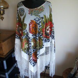 Unique long fringe fringed poncho Fall colors